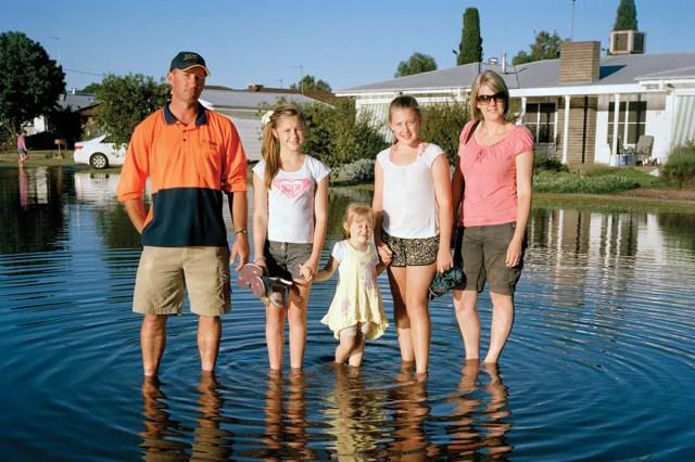 family in flood