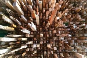 wooden tower blocks