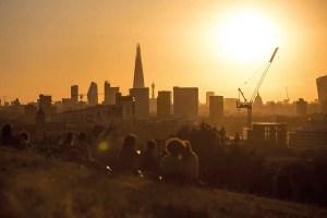 A hot sun over a city