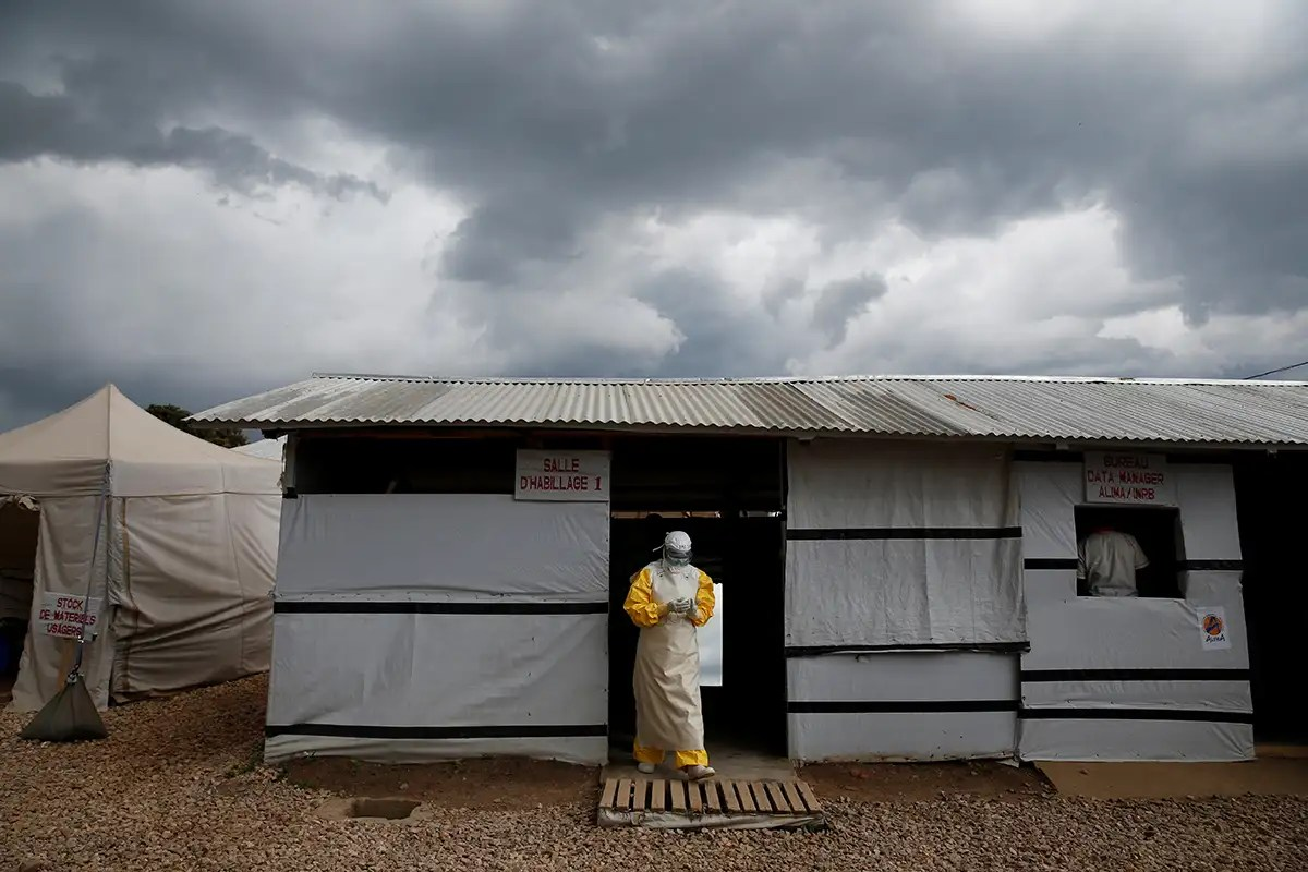 A health worker at an Ebola treatment centre in Beni
