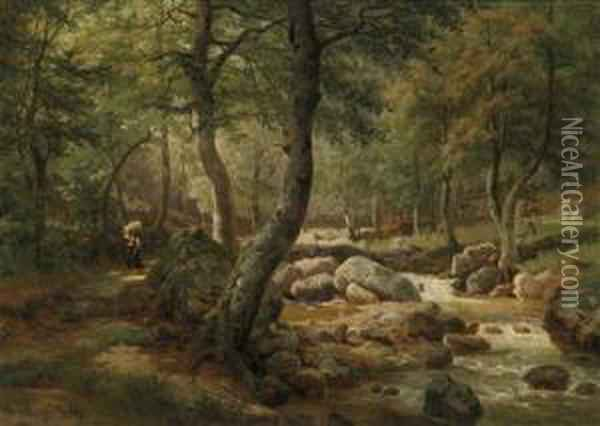 Countrywoman By A Woodland Stream Oil Painting Reproduction By Helene Marie Stromeyer