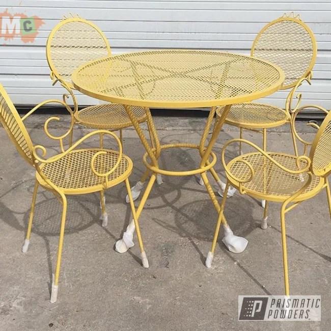 metal patio furniture done in vintage
