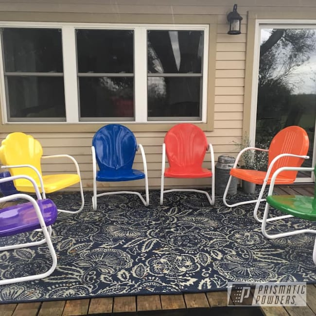 refinished metal patio chairs finished
