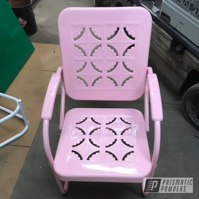 patio chair featuring pink chalk