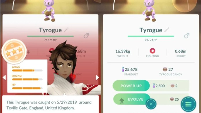 Tyrogue To Hitmontop Stats Example