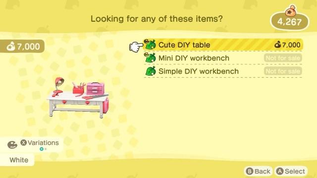 Cute DIY table in Animal Crossing: New Horizons
