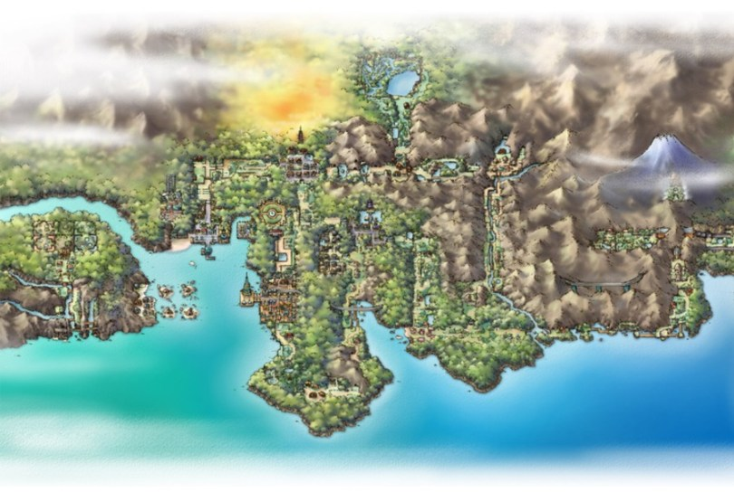 Johto in all its glory - Kanto is just off to the right