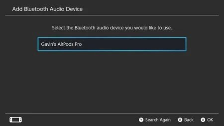 3. Nintendo Switch select the Bluetooth audio device