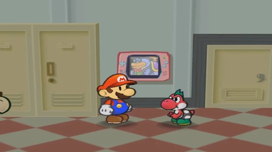 Grubba gives Paper Mario The Great Gonzales instructions via a big Game Boy Advance