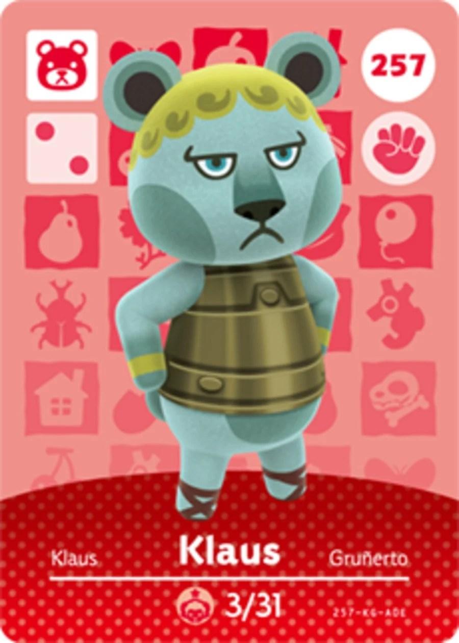 Klaus Animal Crossing Amiibo Card