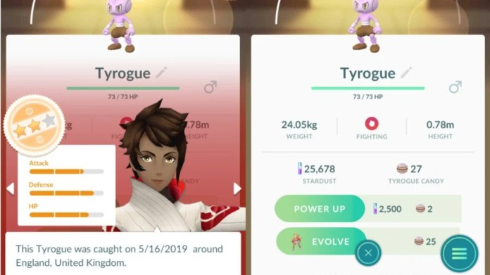 Tyrogue To Hitmonchan Stats Example