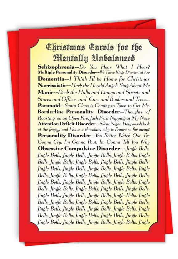 Christmas Carols For The Mentally Unbalanced Greeting Card