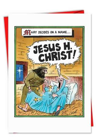 How Jesus Was Named Funny Adult Christmas Card