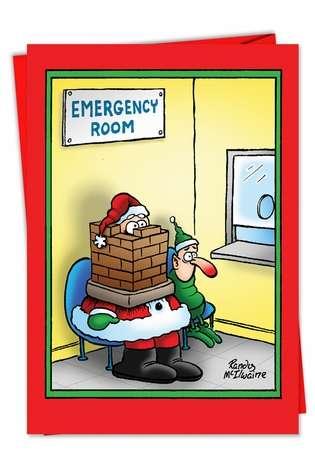 Santa In The Emergency Room Card