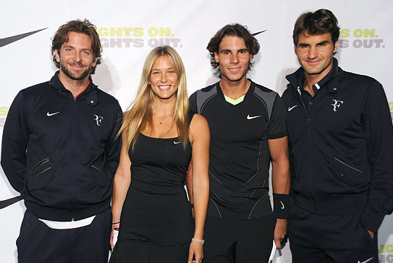 Bradley Cooper, Bar Refaeli, Rafael Nadal, and Roger Federer at last night's benefit.
