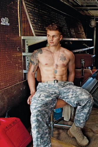 hunk shirtless marine tattoos