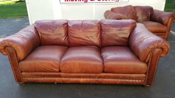 lane leather sofa and love seat for
