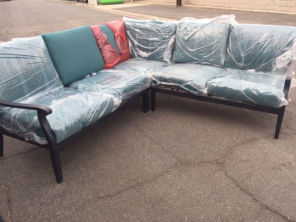 Hampton Bay Riley 3-Piece Metal Outdoor Sectional Set with ... on Riley 3 Piece Sectional Charleston id=53808
