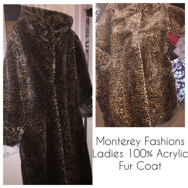 Monterey Fashions Leopard faux Fur Ladies Coat size L for Sale in      60