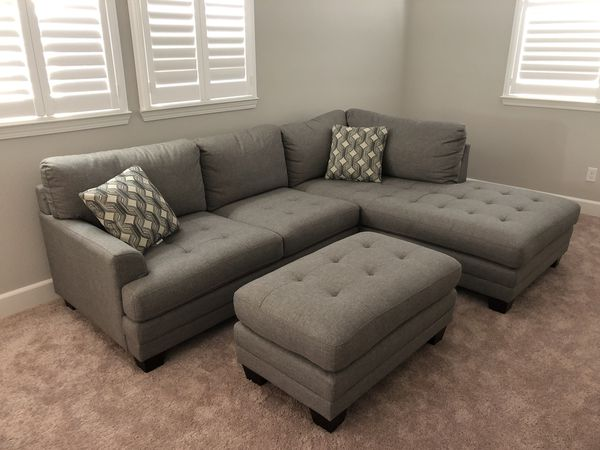 mitch fabric sectional with ottoman for