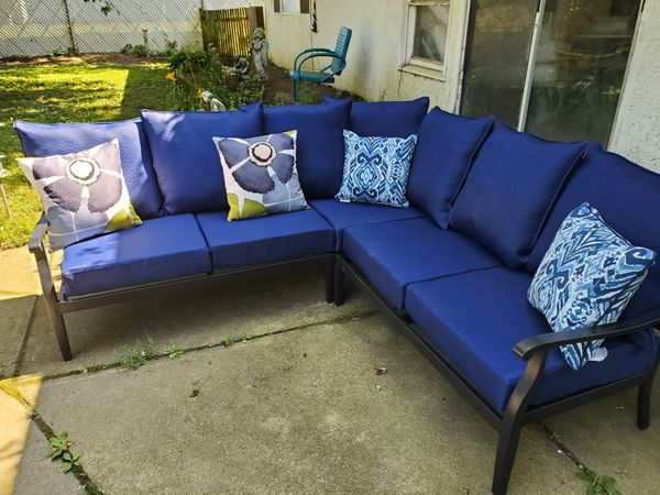 HAMPTON BAY RILEY 3 PIECE METAL OUTDOOR SECTIONAL SET for ... on Riley 3 Piece Sectional Charleston id=71345