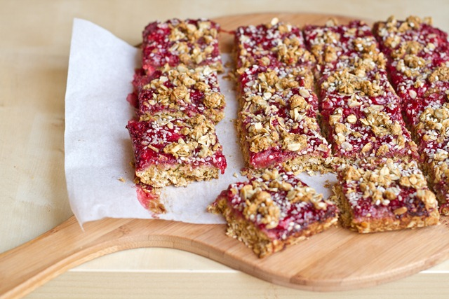 Healthy Strawberry Oat Squares with Homemade Jam