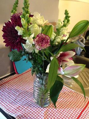 Sarah brought me some beautiful flowers [OK]