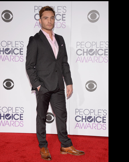 Ed Westwick sports a grey suit and pink shirt – very dapper [Getty]