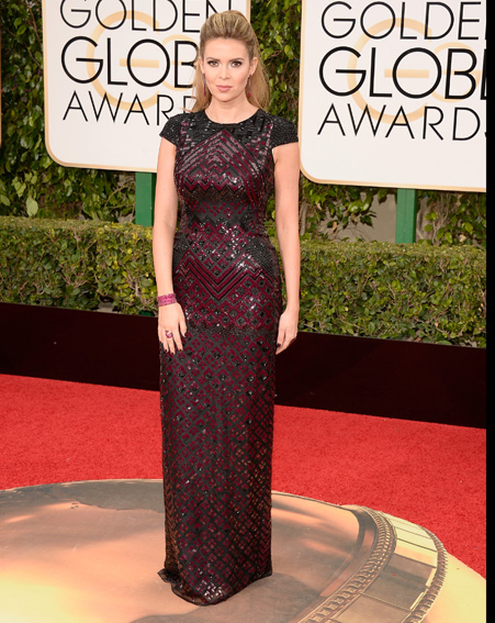 Carly Steel looks sophisticated in this embellished maroon gown [Getty]