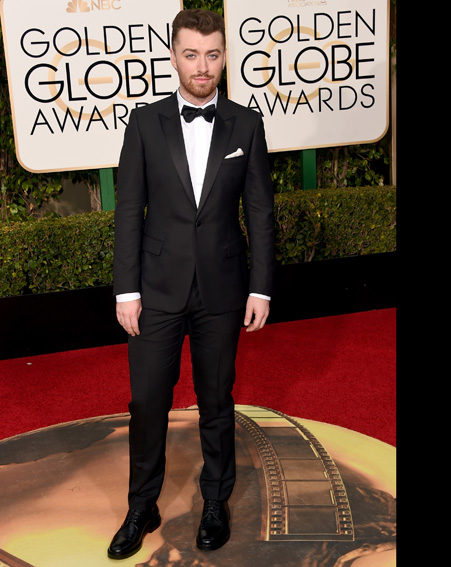 Singer Sam Smith's suited and booted for the Golden Globes 2016 [Getty]