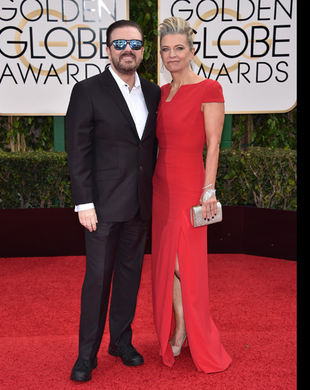 Host Ricky Gervais and Jane Fallon pose together at the Golden Globes 2016 [Getty]