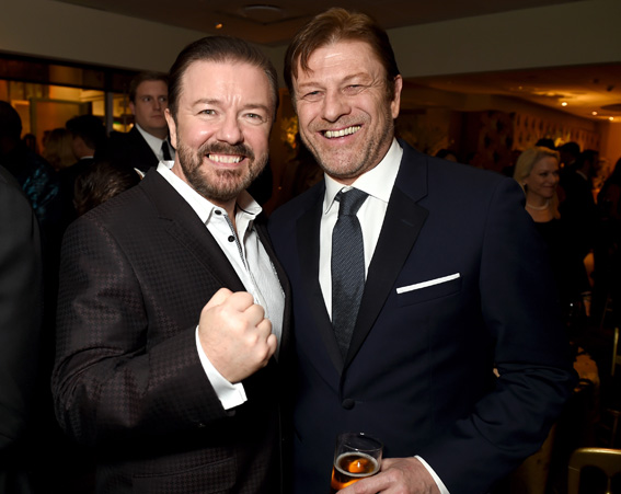 Host Ricky Gervais and actor Sean Bean attend HBO's Official Golden Globe Awards After Party [Getty]