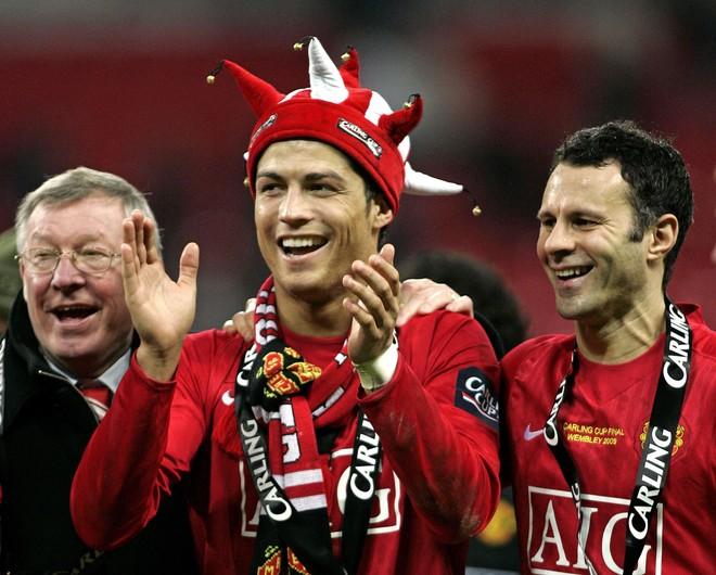 Giggs y Ronaldo, juntos en el United.