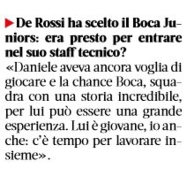 La nota a Roberto Mancini en La Gazzetta dello Sport en la que habló de De Rossi.