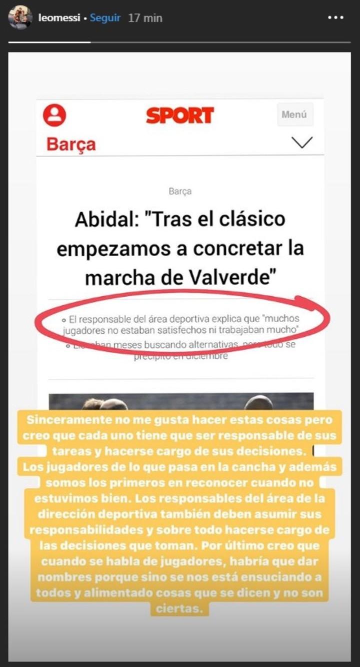 La historia de Messi sobre las declaraciones de Abidal.