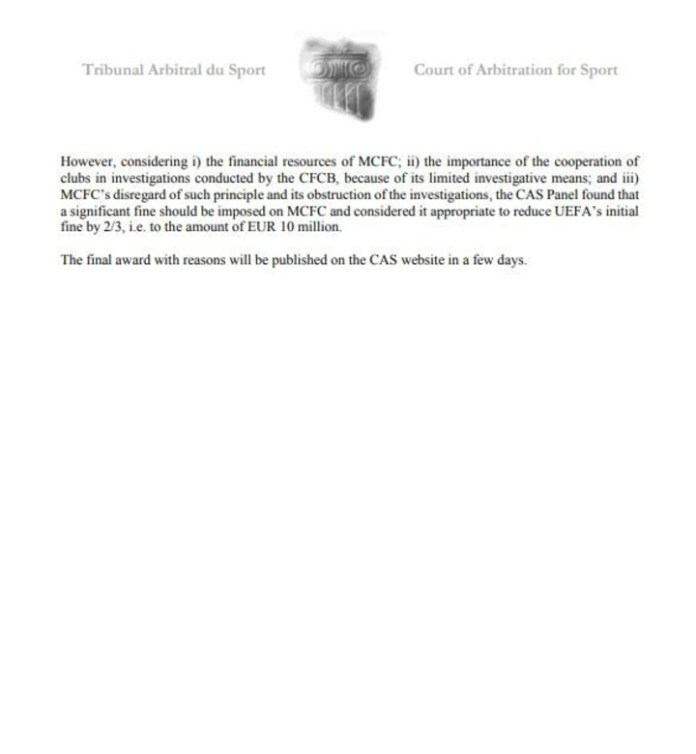 The ruling of the TAS in favor of the City.