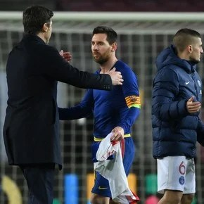 What did Pochettino and Messi talk about at the Camp Nou?