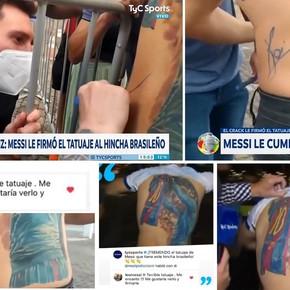 Messi le cumplió el sueño y firmó el tatuaje