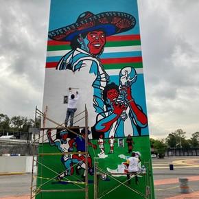 El mural a Maradona en el estadio Azteca de México