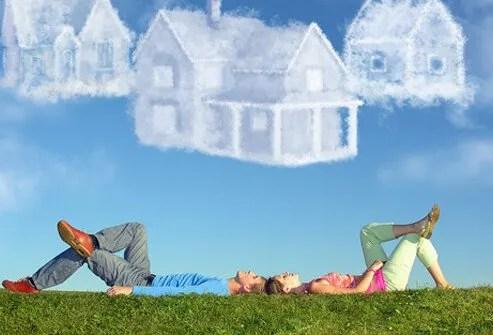 A couple imagines their dream home.