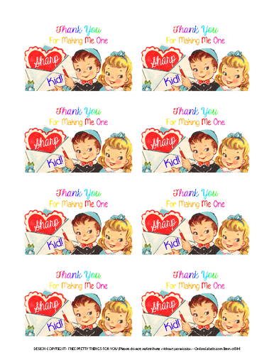Teacher Valentine's Gift Printable Labels for Sharpie Markers