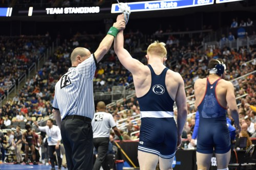 Penn State Football Congratulates Penn State Wrestling On Another NCAA Title