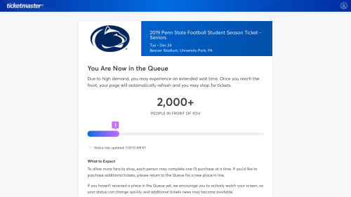Seniors Bemoan New Penn State Football Student Ticket Sale System
