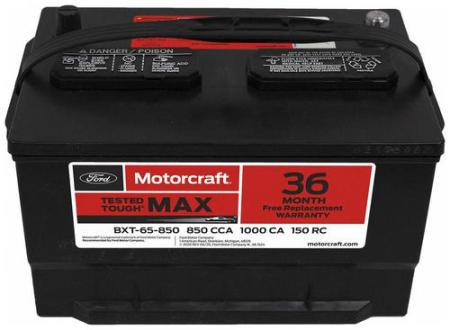 Motorcraft Tested Tough MAX Group Size 65 Top Post Battery BXT65850     Motorcraft Tested Tough MAX Group Size 65 Top Post Battery BXT65850    O Reilly Auto Parts