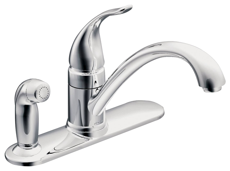 moen ca87484 kitchen faucet with protege side spray 9 in x 5 15 32 in spout 8 in center lever handle