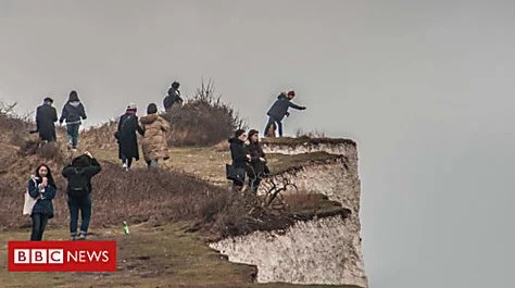 Cliff visitors 'shocked' by rock falls