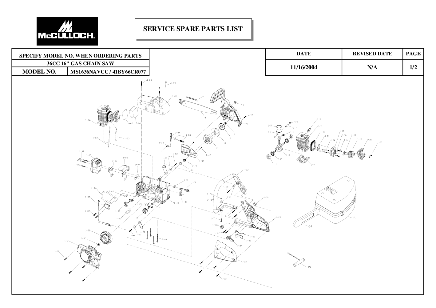 Mcculloch Chainsaw Ms Navcc User S Guide