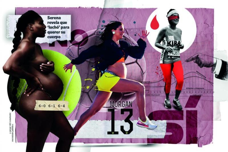 Cuerpos en acción: La tenista Serena Williams, la futbolista Alex Morgan y la corredora Kira Gandhi.