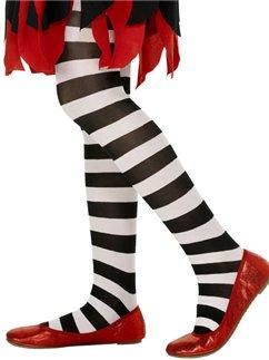 Black & White Striped Tights - Child 6-12yrs