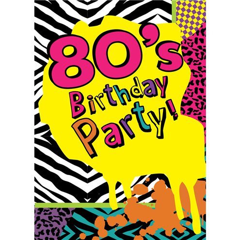 80s themed party invitation cards small